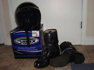 Open Face Helmet and Size 12 Riding Boots