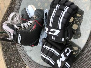 Patins et gants hockey enfant