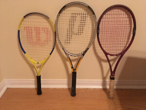 Three tennis rackets in good condition for sale