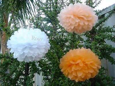 15x peach orange white paper pom poms wedding event party baby shower decoration ()