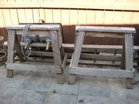2 RUSTIC HEAVY DUTY WOODEN SAW HORSES