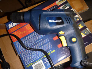 "New Corded Mastercraft 3/8"" Drill with keyless chuck"