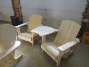 Angled Two Seat Adirondack Bench with Center Table