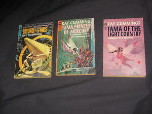 (3) vintage 1960's RAY CUMMINGS sci-fi collectible PB novels