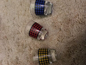 Plaid coloured shot glasses