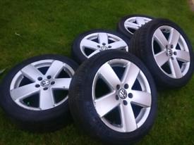 17 Vw Passat sport alloy wheels tyres 5x112 Golf gti bbs caddy Audi