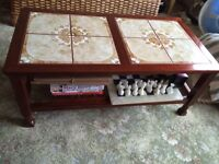Wooden coffee table with inlaid tile