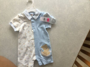 Blue and White Summer Onsie with matching socks. BRAND NEW