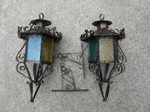 2 STAINED GLASS INDOOR/OUTDOOR LANTERNS