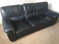 Leather sofa black 3 seater