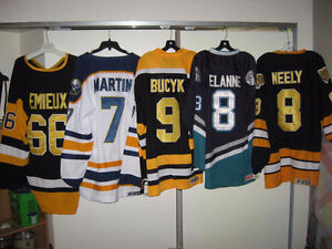 VINTAGE CHANDAIL LNH LEMIEUX ROBITAILLE VACHON MARTIN NEELY HULL