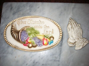 Give thanks unto the Lord plaque and praying hands