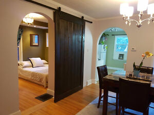 Barn door hardware with soft close , and custom barn doors