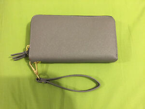 NEW INDIGO SAFFIANO GRAY GREY DOUBLE ZIP WRISTLET CLUTCH WALLET