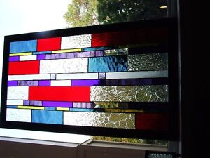 Stained Glass Panel in Wooden Frame