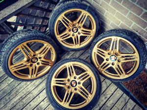 CUSTOM 18 INCH PORSCHE 911 TURBO GOLD 5x130 RIMS WITH TIRES!!!!