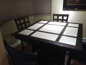 Modern Tile Dining Table with Leather Dining Chairs-Moving sale!