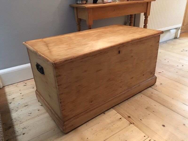 Victorian Wooden Pine Blanket Box Chest Kist Trunk Coffee Table Antique In Kirkcaldy Fife