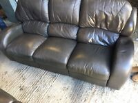 3 & 2 seater dark brown recliner faux leather suite couch sofa £80 was £150
