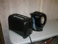BLACK KETTLE, 4 CUP COFFEE MAKER AND TOASTER