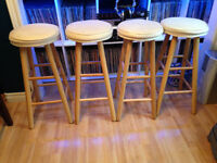 4 Bar Stools - Solid wood with cushion