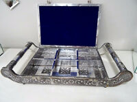 EXQUISITE hand tooled METAL HANDLED JEWELLERY BOX TRAY gorgeous