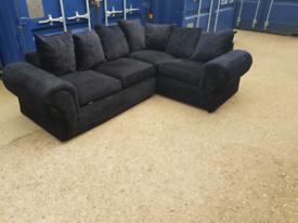 Black velvet crush corner sofa
