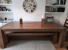 12 seater solid OAK dining table with 2 oak benches and 2 oak chairs