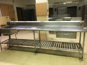 11ft stainless prep table with sink