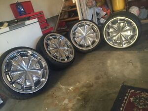 """20"""" Chrome wheels and tires"""