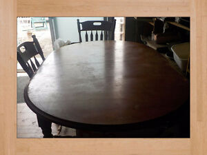 Dining Table Solid Wood Vintage with Four Chairs