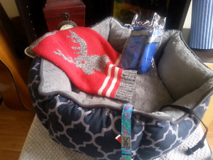 Like new - dog bed and accessories!