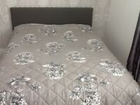 Grey leather Double bed as new with mattress