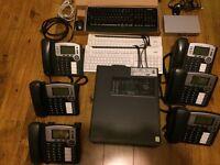6 x Grandstream GXP 2100 voip telephones, Zyxel desktop ethernet switch, Fujitsu desktop PC