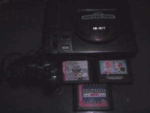 Saga Genesis with one controller and three games.