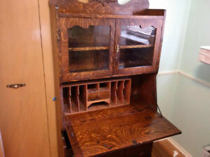 Secretary, Desk, Book shelf, 3 drawers and a Display Cabinet