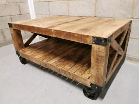 Industrial Rustic Reclaimed Wood Coffee Table on Wheels