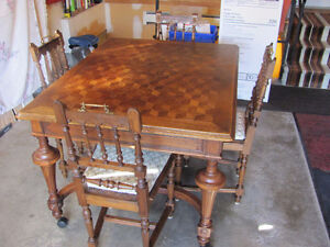 LATE 1800's SOLID OAK DINING ROOM TABLE & 6 CHAIRS Prince George British Columbia image 3