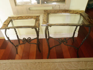 2 glass and wrought iron tables Kingston Kingston Area image 1