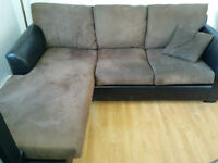Brown Synthetic Faux Leather Couch - Structube