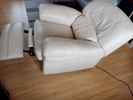 FREE DELIVERY Cream real leather Electric Reclining arm chair