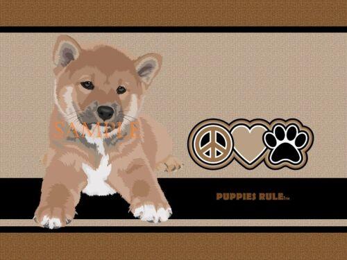 Puppies Rule Shiba Inu Dog Peace Love Paws House Door Mat Doormat Floor Rug
