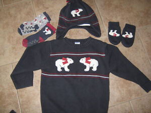 Christmas sweater Gymboree (size 3) with matching hat ,etc..