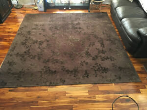 Beautiful Dark Brown Rug with Raised Print