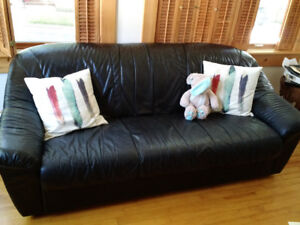 Black Leather Sofa  OBO