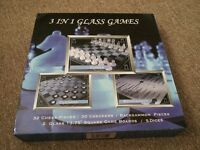 BRAND NEW - 3 IN 1 GLASS GAME SET