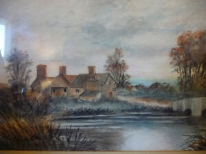 """Original Watercolor """"Village In The Country"""", Carrie Walker 1935 Stratford Kitchener Area image 3"""