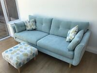 NEARLY NEW 3 Seater Sofa Duck Egg Blue with Footstool