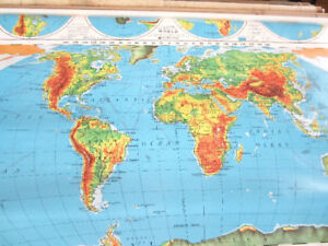 Large Classroom Wall Maps from 1960s-70s