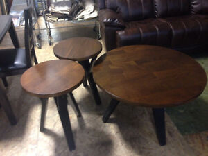 Round Wood Coffee and End Table set!!  Craftsman styling!!